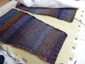 Example of Blocking. Here is a yoga sock in process.